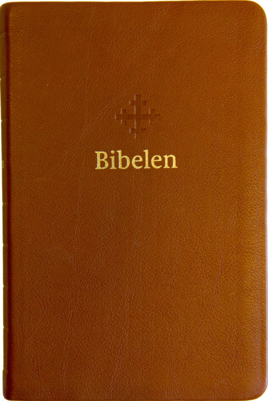 Bibel 2011, mellomstor, lys brunt skinn, register