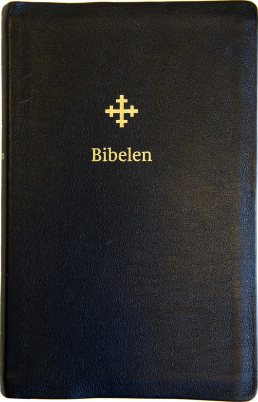 Bibel 2011, stor utgave i sort skinn med register